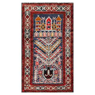 Herat Oriental Semi-antique Afghan Hand-knotted Tribal Balouchi Navy/ Red Wool Rug (2'7 x 4'5)