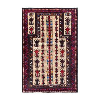 Herat Oriental Semi-antique Afghan Hand-knotted Tribal Balouchi Beige/ Red Wool Rug (2'11 x 4'4)