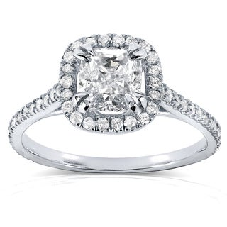 Annello 14k White Gold 1 1/3ct TDW Cushion-cut Diamond Halo Engagement Ring (H-I, SI1-SI2)