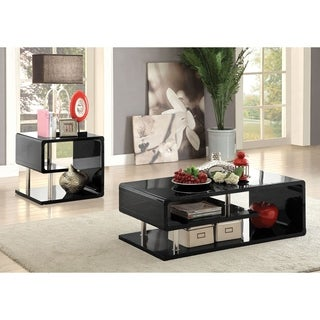 Furniture of America Inomata Geometric 2-Piece High Gloss Accent Table Set