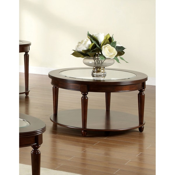 furniture of america crescent dark cherry glass top round coffee table. Black Bedroom Furniture Sets. Home Design Ideas