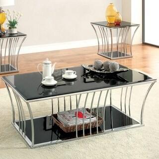 Furniture of America Confidante Curved 2-Piece Chrome Accent Table Set