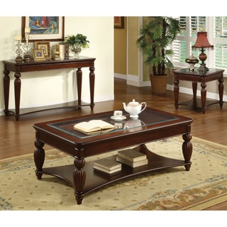 Furniture of America Morgan 3-Piece Beveled Glass Accent Table Set
