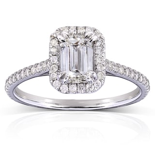 Annello 14k White Gold 1 1/3ct TDW Emerald-cut Diamond Halo Engagement Ring (H-I, I1-I2)
