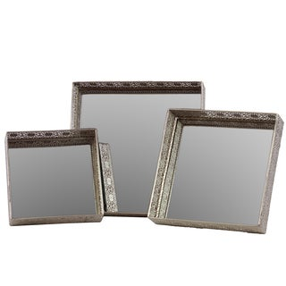 Metal Mirror/ Tray (Set of 3)