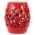 Open Work Red Ceramic Garden Stool