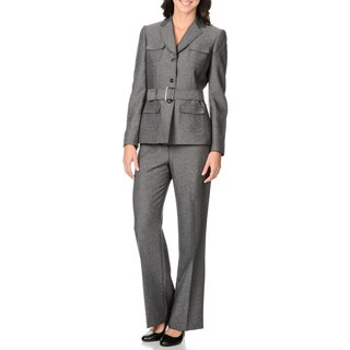 Tahari Women's Grey Belted Jacket 2-piece Pant Suit