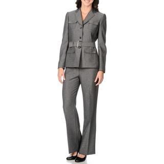 Tahari Women's Grey Belted Jacket 2-piece Pant Suit