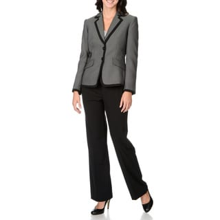 Tahari Women's Black Checkered Jacket 2-piece Pant Suit