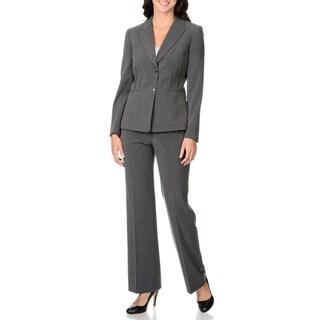 Tahari Women's Charcoal Grey Clamp-closure Pant Suit