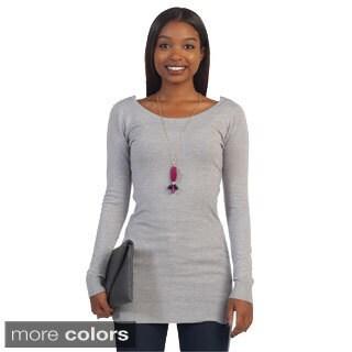 Hadari Women's Lacey V-back Sweater Tunic