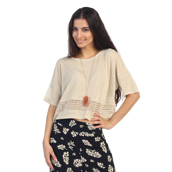 Hadari Juniors Beige Short Sleeve Boho Crop Top