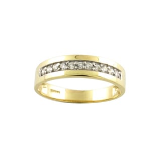 10k Yellow Gold Men's Cubic Zirconia Wedding Band