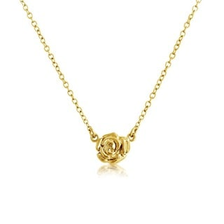 Belcho 14k Yellow Gold Small Textured Rose Pendant Necklace