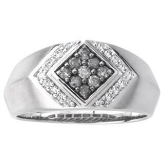 SilverMist Sterling Silver 1/2ct TDW Grey and White Diamond Men's Ring (H-I, I2-I3)
