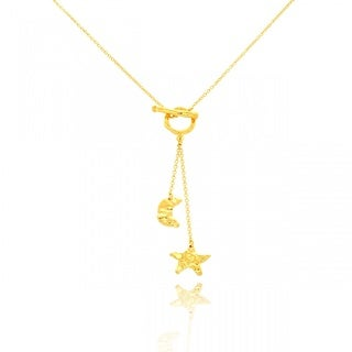 14k Yellow Gold Overlay Moon and Stars Toggle Necklace