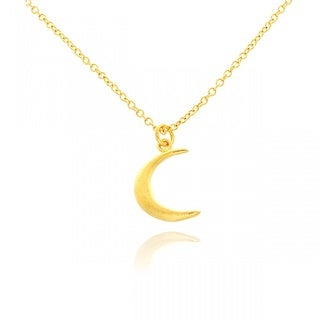 14k Yellow Gold Overlay Small Moon Pendant Necklace