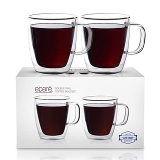Epare Double-wall Insulated 12-ounce Glass Mug (Set of 2)