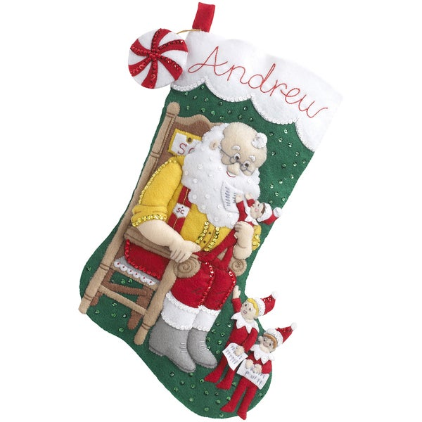 "Elf On The Shelf Santa & Scout Stocking Felt Applique Kit-18"" Long"