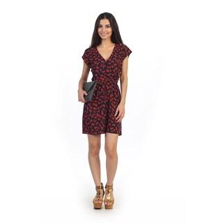 Hadari Juniors Black and Red V-neck Sheath Dress
