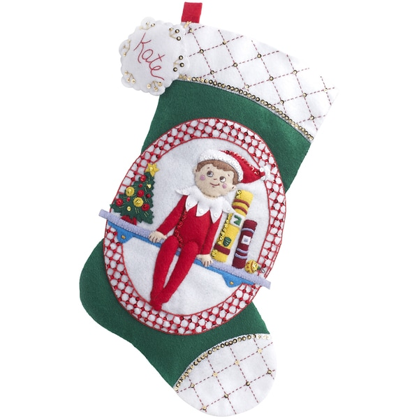 "Elf On The Shelf Scout Elf Stocking Felt Applique Kit-18"" Long"