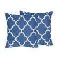 Sweet Jojo Designs Trellis Collection Blue and White Lattice Print Throw Pillows (Set of 2)