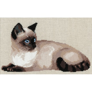 """Thai Cat Counted Cross Stitch Kit-15""""X10.25"""" 10 Count"""