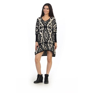 Hadari Juniors Black Tribal Print Dolman Sweater Dress