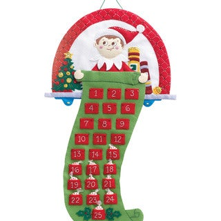 "Elf On The Shelf Scout Elf Advent Calendar Felt Applique Kit-18""X24"""