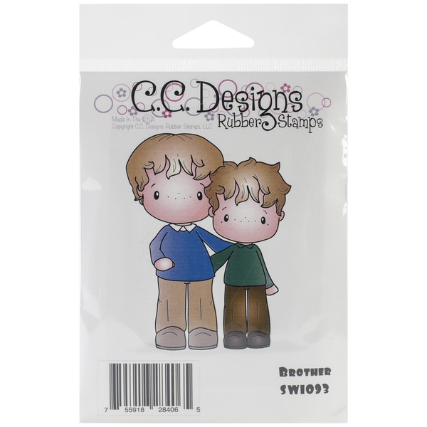 "Swiss Pixie Cling Stamp 3""X3.75"" -Brothers"