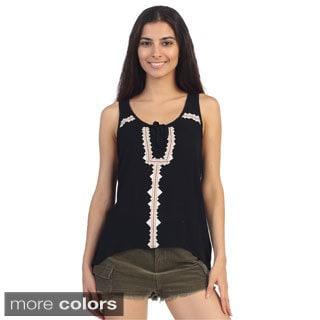Hadari Juniors Tie-dye Trim Sleeveless Top