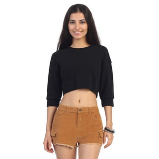 Hadari Juniors Black Long Sleeve Crop Top