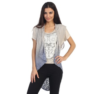 Hadari Juniors Grey Ombre Short Sleeve Open Cardigan