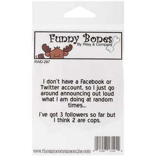 """Riley & Company Funny Bones Cling Mounted STamp 2.75""""X1""""-No Facebook"""