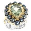 Michael Valitutti Two-tone Green Amethyst, Peacock Pearl and Chrome Diopside Ring (4 mm)