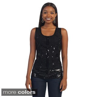Hadari Women's Sequined Scoop Neck Top