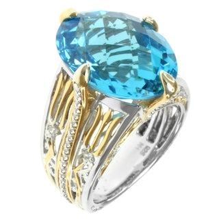 Michael Valitutti Two-tone Swiss Blue Topaz and White Sapphire Ring