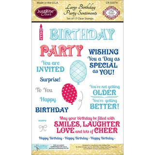 """JustRite Papercraft Clear Stamp Set 4""""X6""""-Large Birthday Party Sentiments 17pc"""