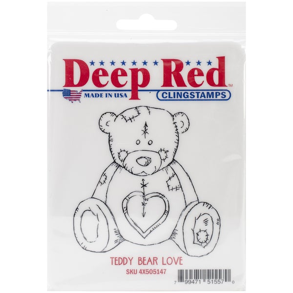 "Deep Red Cling Stamp 3""X3""-Teddy Bear Love"