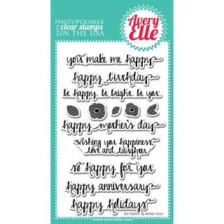 "Avery Elle Clear Stamp Set 4""X6""-So Happy"