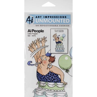 """Art Impressions People Cling Rubber Stamp 7""""X4"""" -Cake Popper Set"""