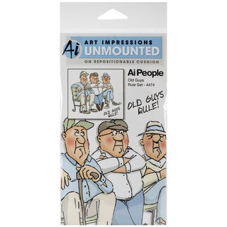 "Art Impressions People Cling Rubber Stamp 7""X4"" -Old Guys Rule Set"