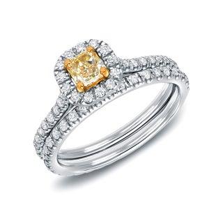 Auriya 14k White Gold 1ct TDW Fancy Yellow Cushion Diamond Bridal Set (H-I, SI1-SI2)