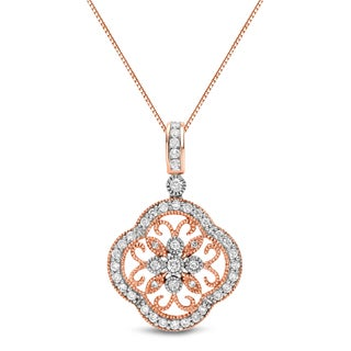 Auriya 14k Rose Gold 3/4ct TDW Vintage Diamond Necklace (H-I, SI1-SI2)