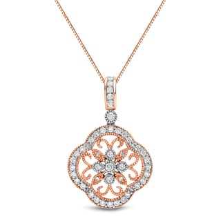 Auriya 14k Rose Gold 3/4ct TDW Filigree Diamond Necklace (H-I, SI1-SI2)