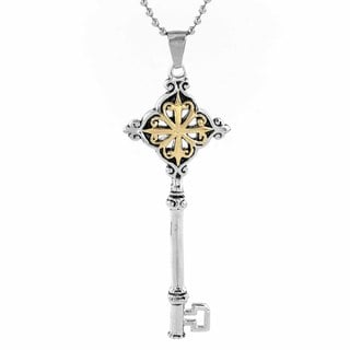 ELYA Antiqued Stainless Steel with Goldplated Key Pendant Necklace