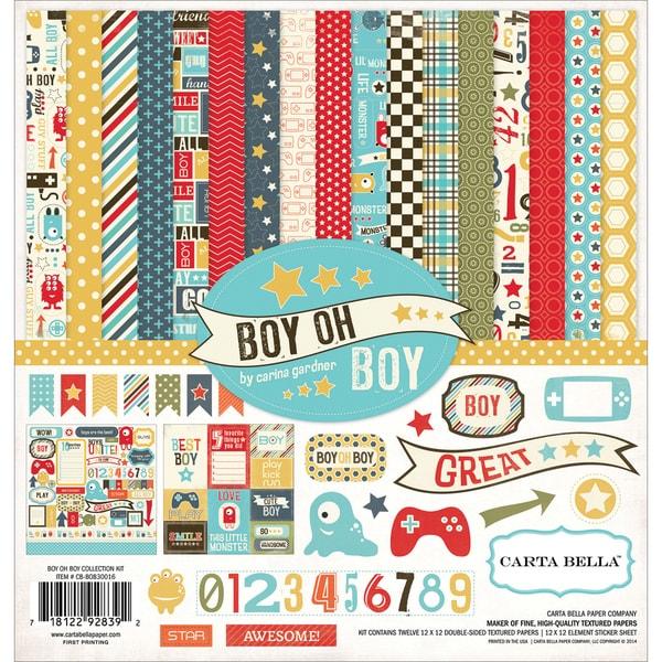 "Carta Bella Collection Kit 12""X12""-Boy Oh Boy"