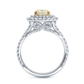 Auriya 18k Two-tone Gold 2 1/4ct TDW Certified Fancy Yellow Cushion-cut Diamond Ring (F-G, SI1-SI2)