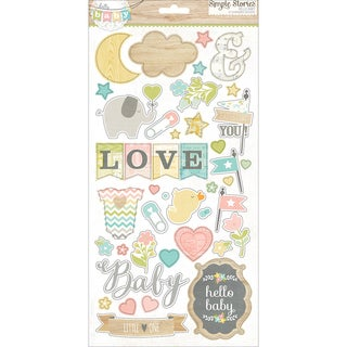 Hello Baby Chipboard Stickers 6X12in