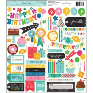 "Birthday Wishes Cardstock Stickers 6""X12"" 2/Sheets-Icon & Phrase"